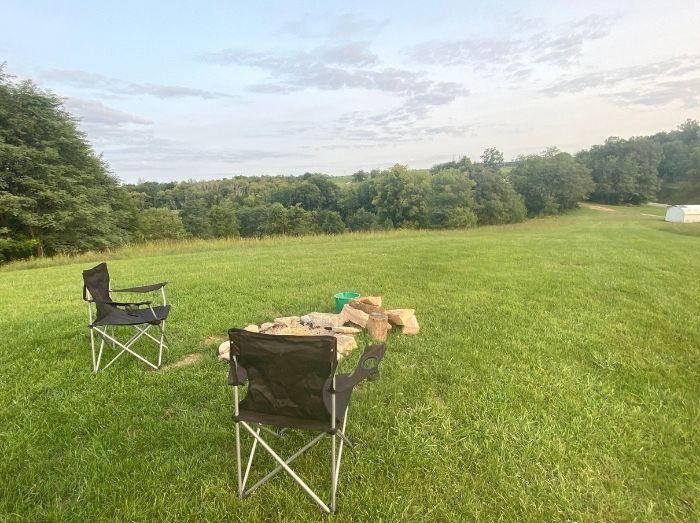 camping chairs from the pop-up BNB at site number 2 at Hidden Lake Farm