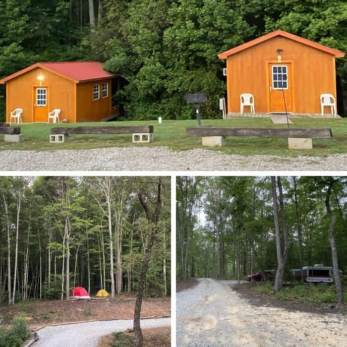 campsites and cabins at Sheltowee Trace Adventure Resort