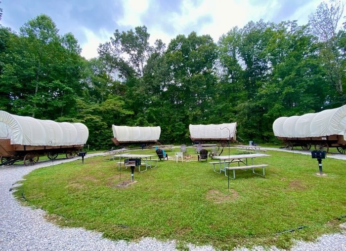covered wagons at Sheltowee Trace Adventure Resort
