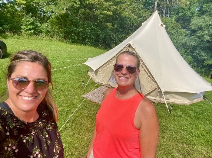 friends on a Glamping adventure with the Pop-Up BNB at Hidden Lake Farm