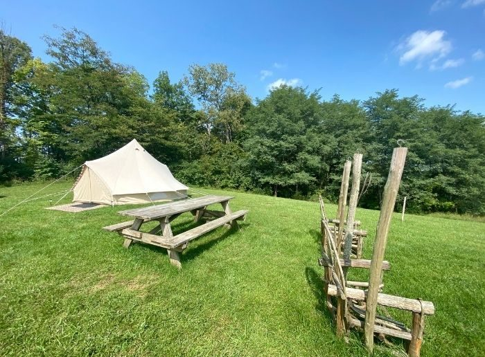 glamping with the popup BNB at Hidden Lake Farm