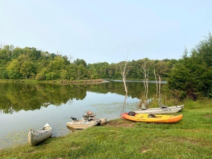 kayaks and boats at Hidden Lake Farm in Kentucky