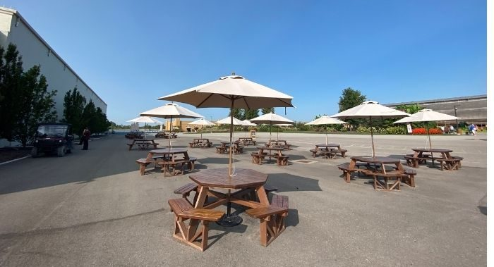 picnic tables at the Ark Encounter