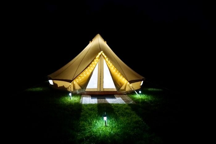 tent at night by the Pop-Up BNB at Hidden Lake Farm