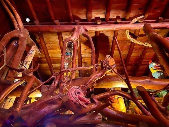 woodwork inside the Legs Inn restaurant in Northern Michigan