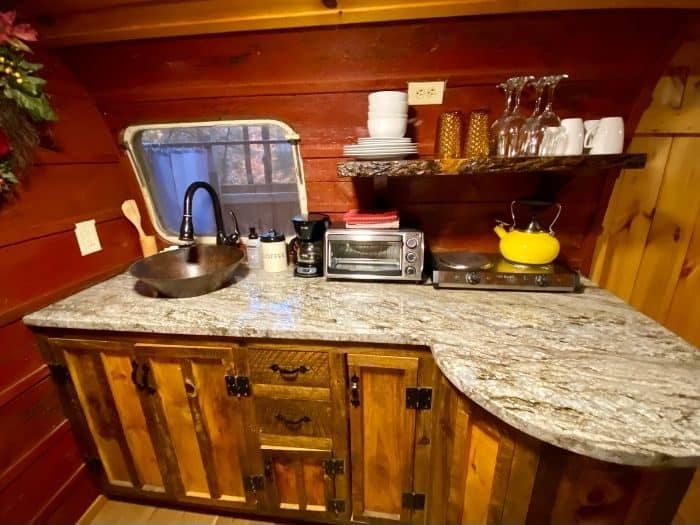 Kitchenette inside The Silver Bullet Airstream TreehouseKitchenette inside The Silver Bullet Airstream Treehouse