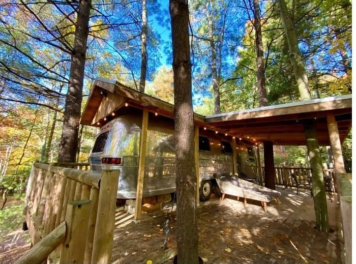 Silver Bullet Airstream Treehouse rental at The Mohicans