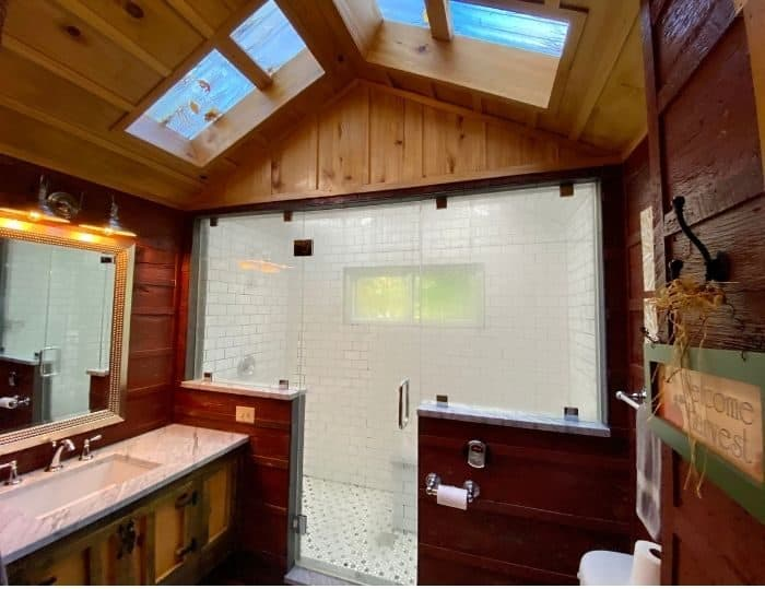 bathroom inside The Silver Bullet Airstream Treehouse