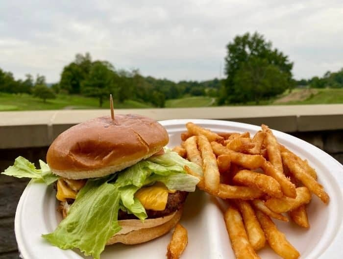 burger at The Clubhouse at Devou Golf and Event Center
