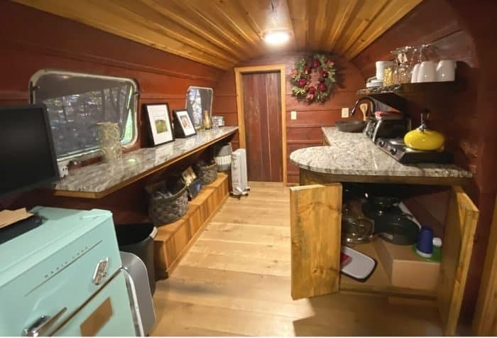 inside the Silver Bullet Airstream treehouse at The Mohicans