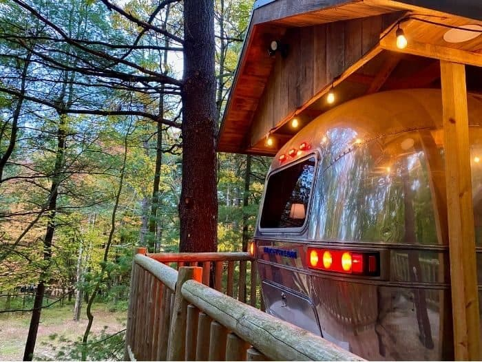 outside The Silver Bullet Airstream Treehouse