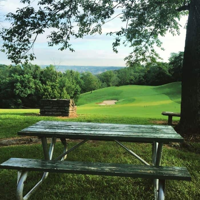 picnic table at Devou Park  table at Devou Park Overlook