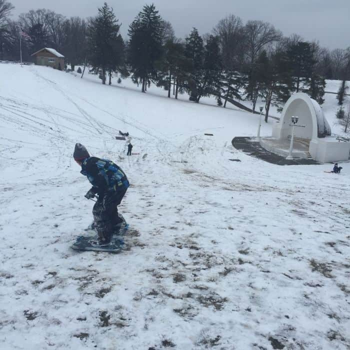 snowboarding at Devou Park Band Shell