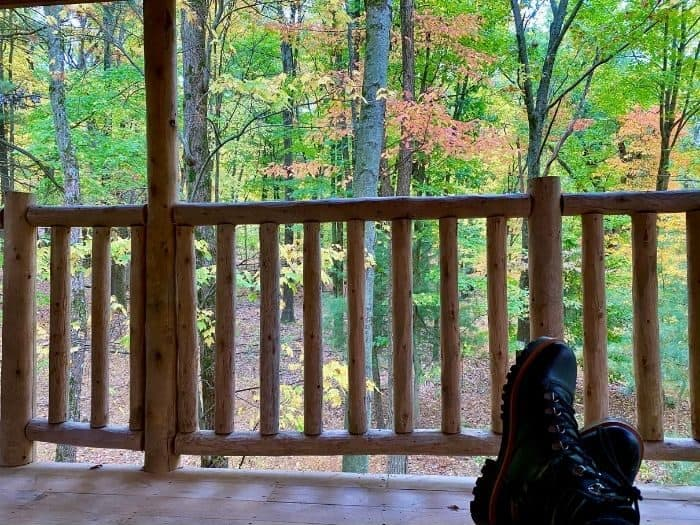 view from the platform of the Silver Bullet Airstream Treehouse rental at The Mohicans