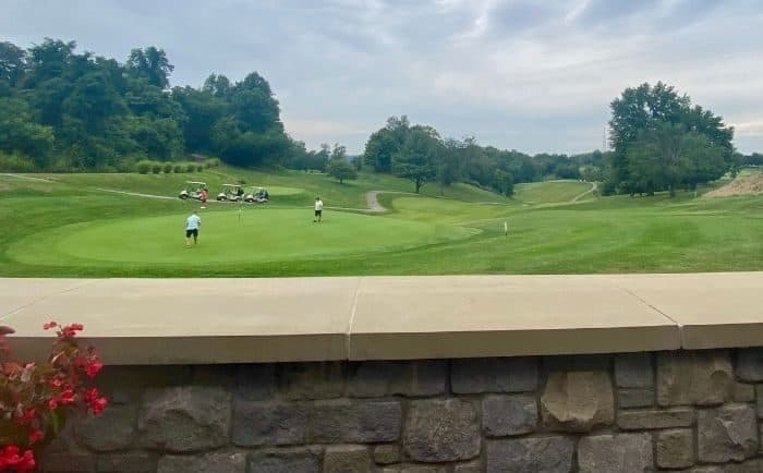 view of golf course from The Clubhouse at Devou Golf and Event Center