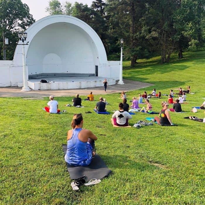 yoga at Devou Park Band Shell