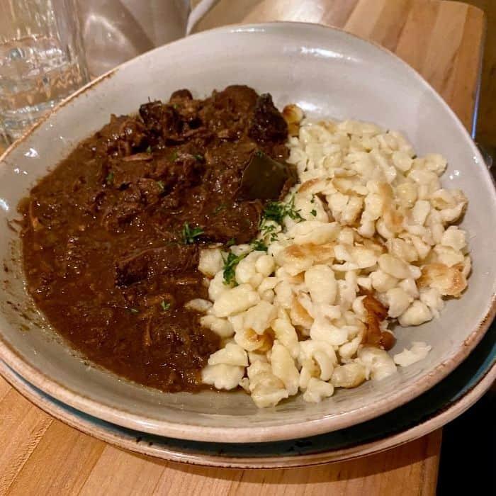 Bavarian Beef goulash at Andreas Keller in Leavenworth Washington
