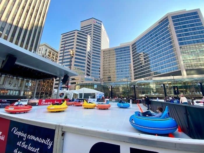 Bumper cars on the ice at Fountain Square in Cincinnati