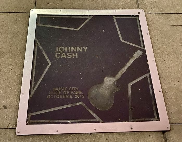 Johnny Cash star on the Music City Walk of Fame in Nashville Tennessee