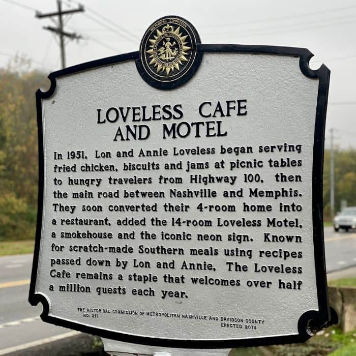 Loveless Cafe and Motel historic sign in Nashville TN