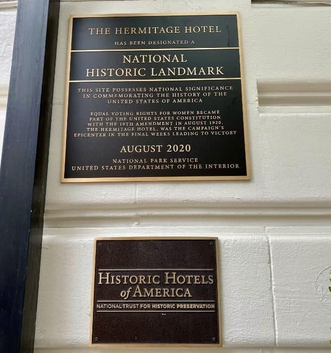National Historic Landmark sign outside the Hermitage Hotel in Nashville Tennessee