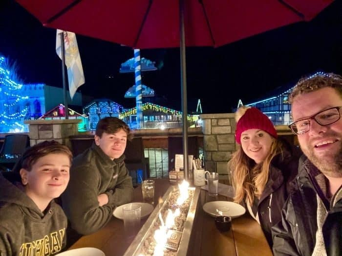 Nedra McDaniel and family at Rhein Haus in Leavenworth WA