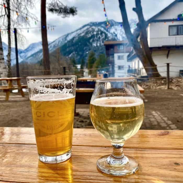 beers at Yodelin Broth Company in Leavenworth WA