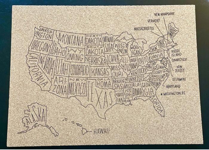 cork board United States map Scripted Studio in Hamilton Ohio