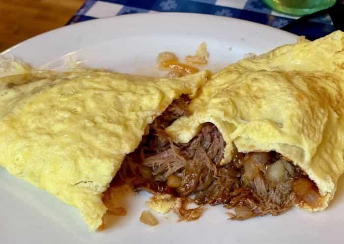 pulled pork bbq omelet at the Loveless Cafe in Nashville TN