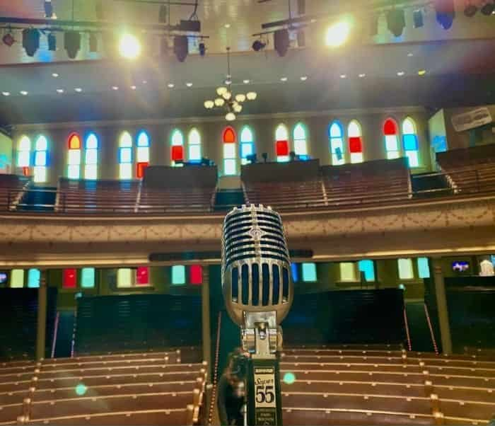 view from stage at Ryman Auditorium in Nashville TN