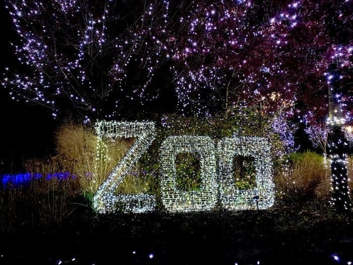 zoo sign at Festival of Lights at the Cincinnati Zoo