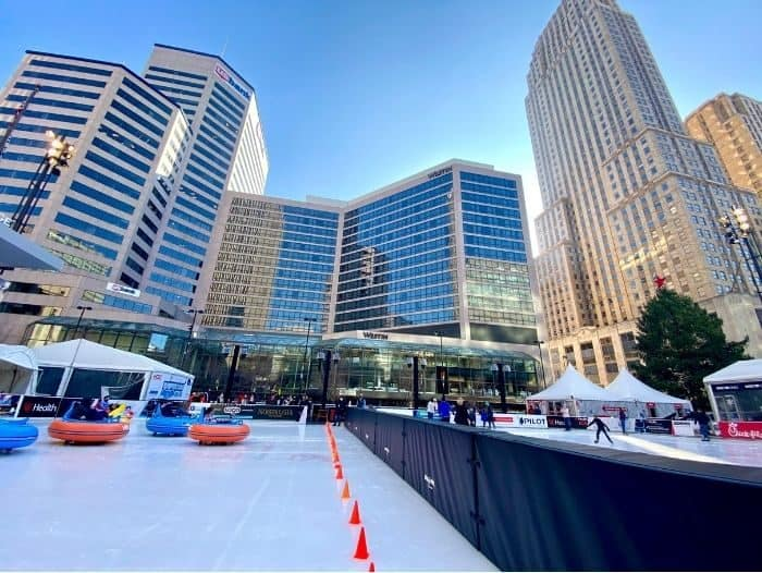 Bumper Cars on the Ice and Ice Skating at Fountain Square