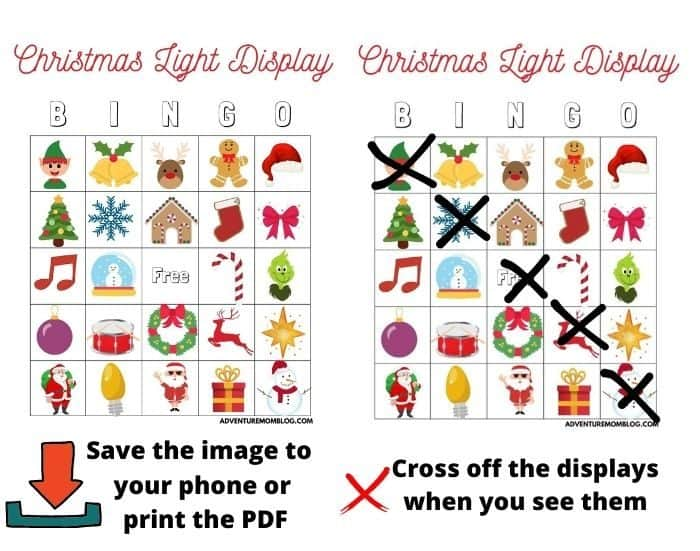 Christmas Light Display Bingo Instructions