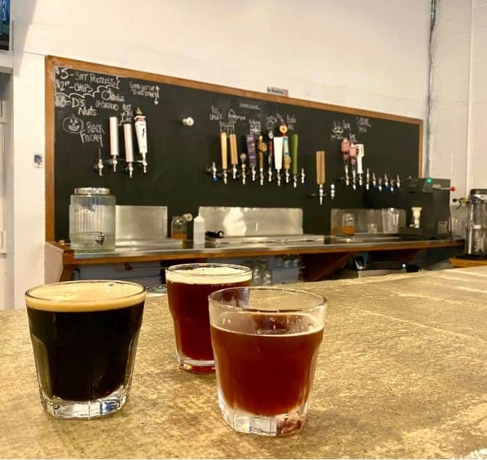 beer samples at Curio Brewing
