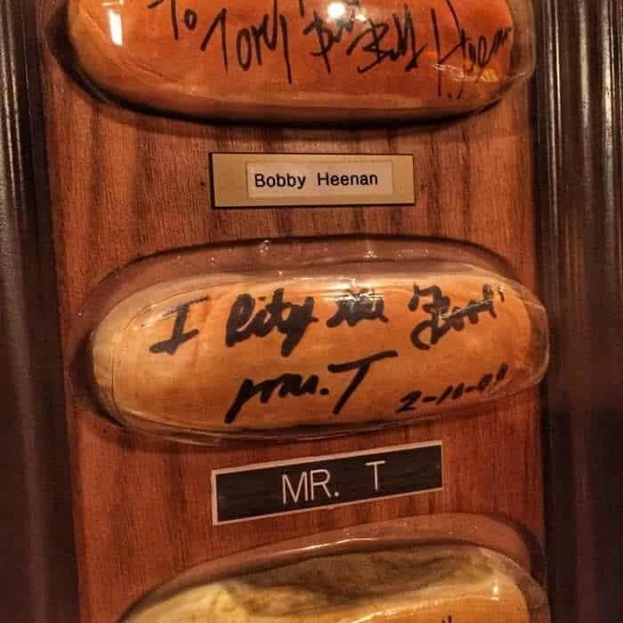 Mr. T autographed hot dog bun at Tony Packo's in Toledo Ohio