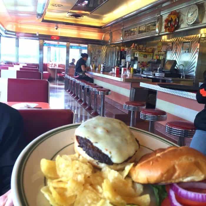 burger at the Tin Goose Diner