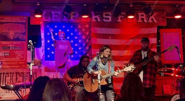 female singer at open mic night at Puckett's of Leiper's Fork
