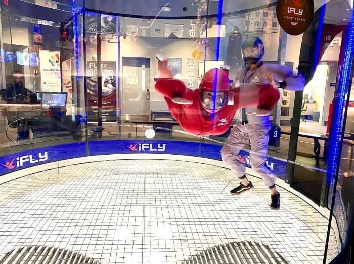 Adventure Mom Nedra McDaniel at indoor skydiving at Ifly Cincinnati