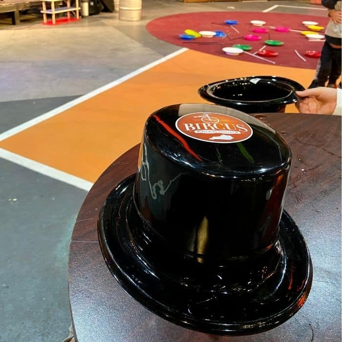 Bircus circus top hat at Family Matinee Circus and Workshop at Bircus Brewing Company