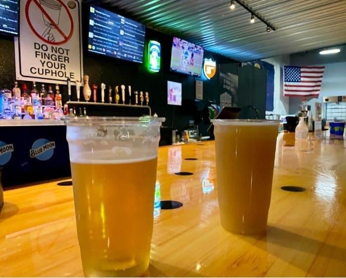 Bottoms-Up draft system at bar at Fowling Warehouse Cincinnati