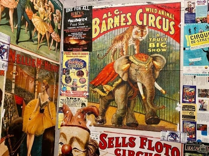 Vintage Circus posters at Bircus Brewing Company