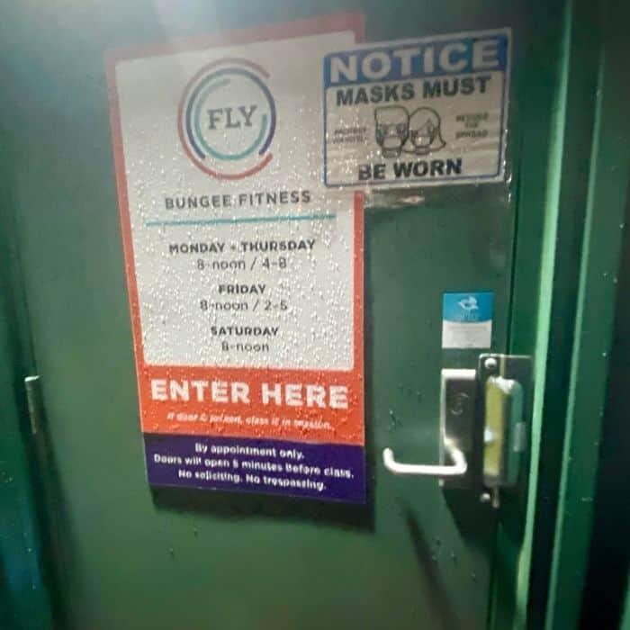 back entrance door to Fly Bungee Fitness Class in Cincinnati
