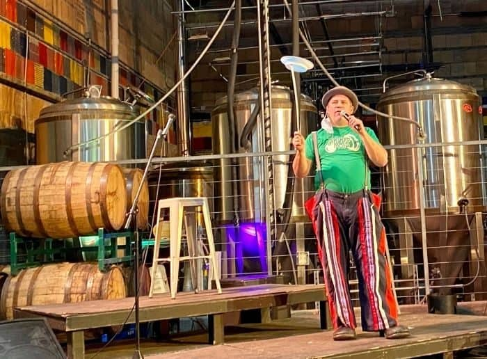 balancing plates at Family Matinee Circus and Workshop at Bircus Brewing Company