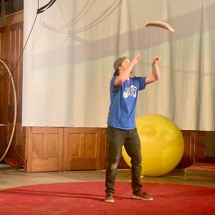 dough thrower at Family Matinee Circus and Workshop at Bircus Brewing Company
