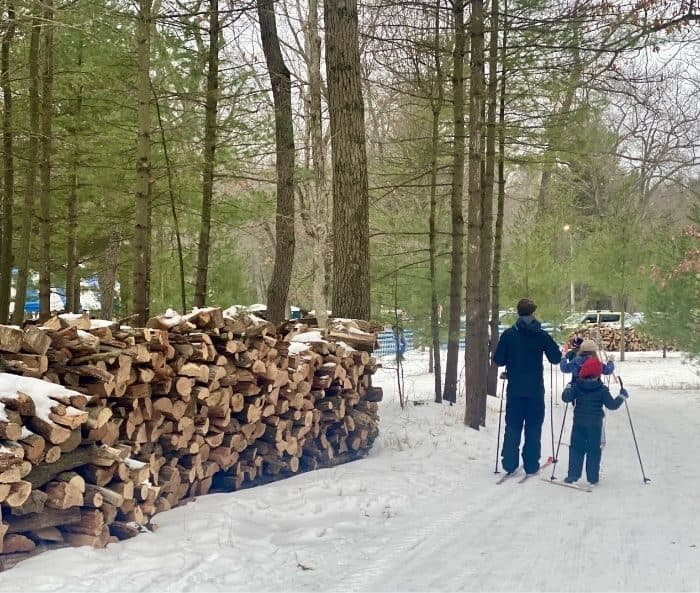 family cross country skiing at Muskegon Luge Adventure Park