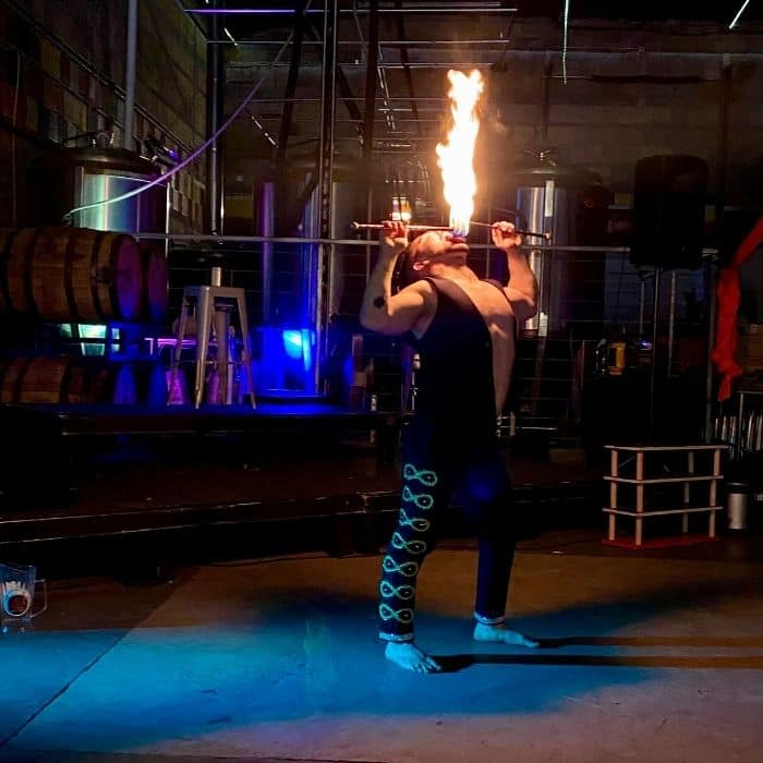 fire breather at Family Matinee Circus and Workshop at Bircus Brewing Company