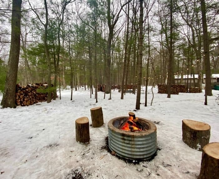 fire pit at Muskegon Luge Adventure Park