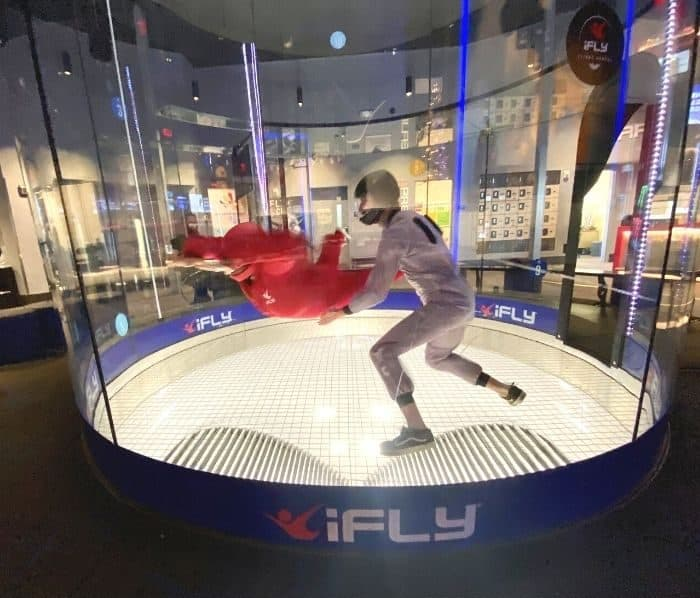 flyer and instructor in the wind tunnel at iFLY Cincinnati