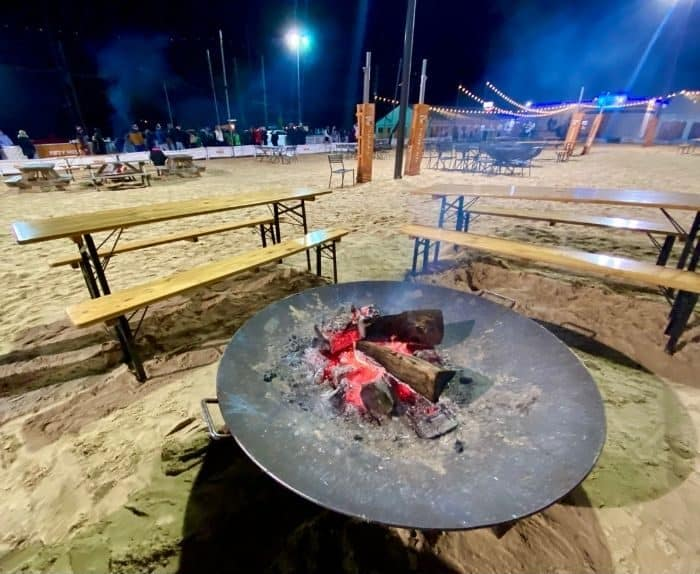 giant fire pits at Fifty West Brewing Company in Cincinnati
