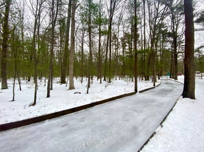 ice skating trail through the woods at Muskegon Luge Adventure Park